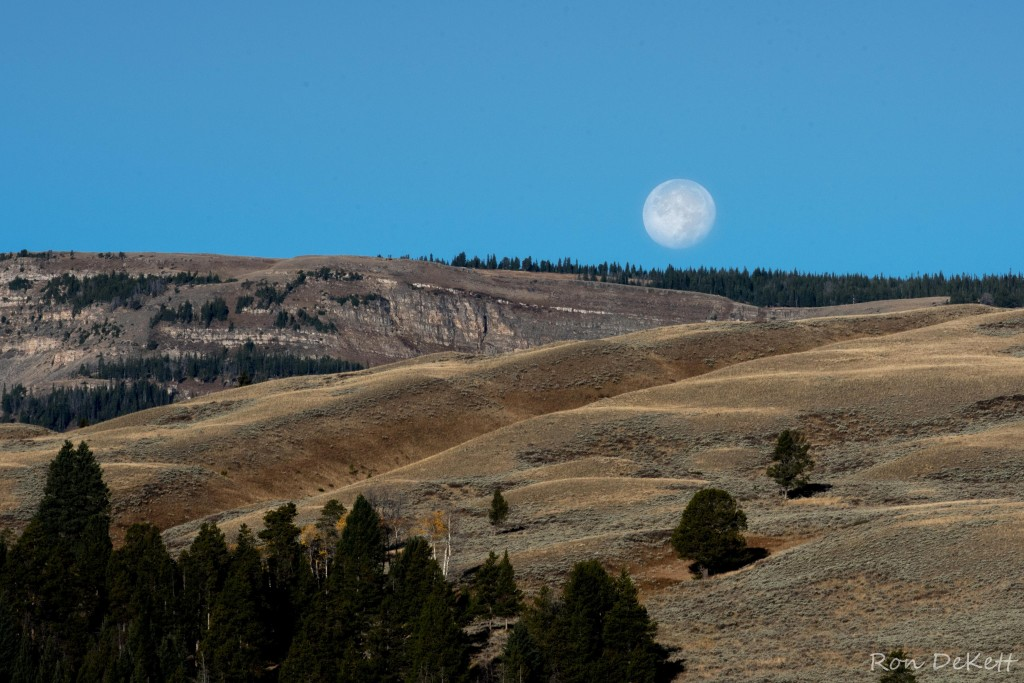 full moon over Yellowstone shot by Ron DeKett in 2015
