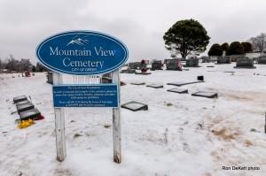Mountain View Cemetery in snow by Ron DeKett